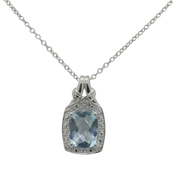 Gioelli Sterling Silver Sky Blue Topaz and Cubic Zirconia Necklace
