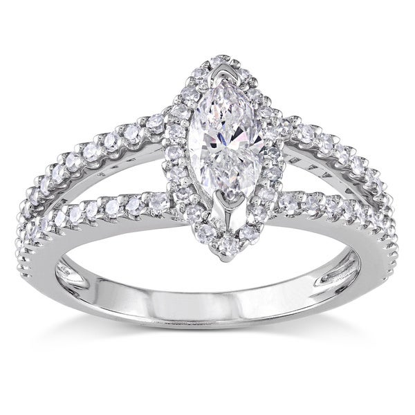 Miadora Signature Collection 14k White Gold 4/5ct TDW Marquise Diamond Ring