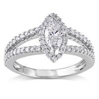 Miadora Signature Collection 14k White Gold 4/5ct TDW Marquise Diamond Ring