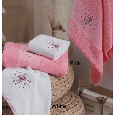 Lucia Minelli Kid's Pink Fairy Embroidered 4-piece Luxury Soft Turkish Cotton Towel Set