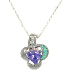 Carolina Glamour Collection Sterling Silver Created Opal and Purple CZ Floral Necklace