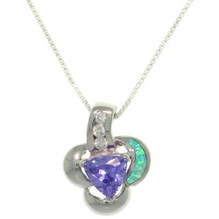 Sterling Silver Created Opal and Purple CZ Floral Necklace - Blue