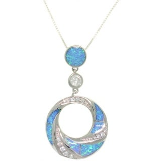 Sterling Silver Created Opal and Brilliant CZ Circle Drop Necklace - Blue