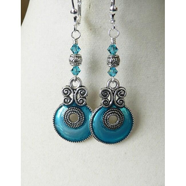 'Aryanna' Teal Enamel Earrings