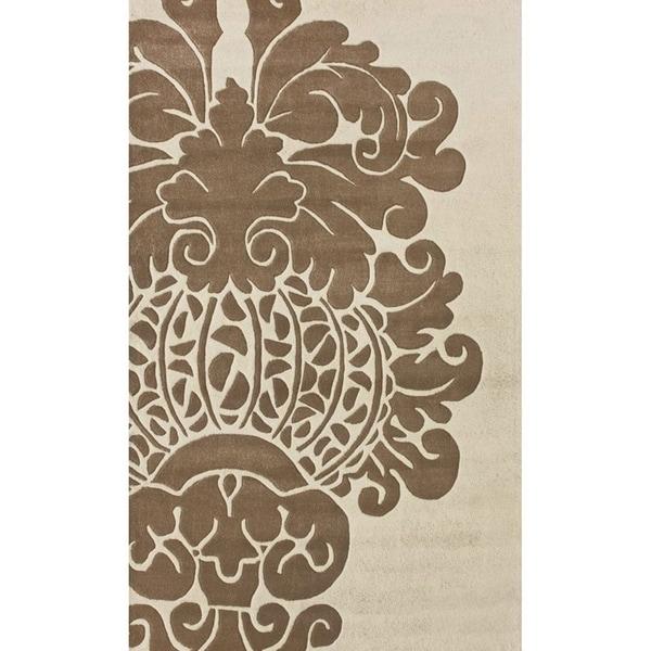 nuLOOM Handmade Modern Damask Ivory Wool Rug - 8'3 x 11'