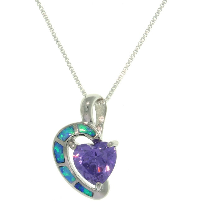 Carolina Glamour Collection Sterling Silver Created Opal and Purple CZ Heart Necklace