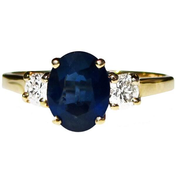 California Girl Jewelry 14k Gold Blue Sapphire and 1/2ct TDW Diamond Ring (F-G, VS1-VS2)