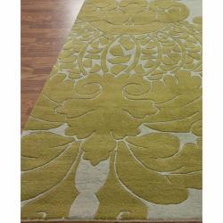 nuLOOM Handmade Modern Damask Grey Wool Rug (6' x 9') - Thumbnail 1