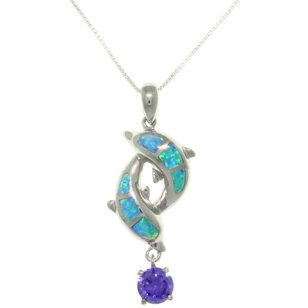 Sterling Silver Created Opal and CZ Double Dolphin Drop Necklace - Blue
