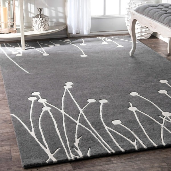 "nuLOOM Gray Handmade Luna New Zealand Wool Area Rug - 8' 3"" x 11'"