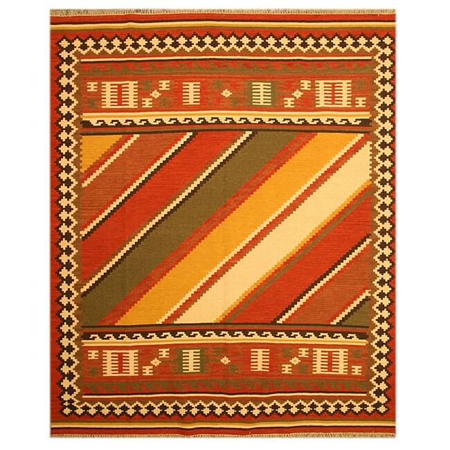 EORC Handmade Wool Red Keysari Kilim Rug (8'4 x 10')