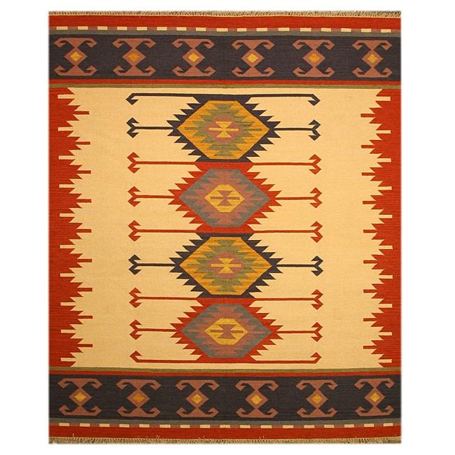 Handmade Wool Ivory Transitional Geometric Keysari Kilim Rug - 8'3 x 10'