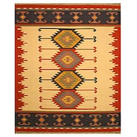 Handmade Wool Ivory Transitional Geometric Keysari Kilim Rug (8'4 x 10')
