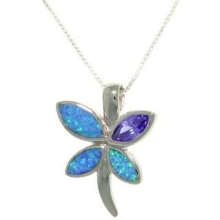 Sterling Silver Created Opal and Purple CZ Spring Butterfly Necklace - Blue