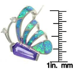 Carolina Glamour Collection Sterling Silver Purple CZ and Created Opal Art Deco Butterfly Necklace - Thumbnail 2
