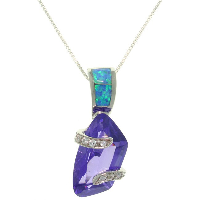 Carolina Glamour Collection Sterling Silver Freeform Purple CZ and Created Opal Necklace
