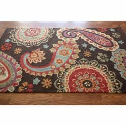 nuLOOM Handmade Paisley Brown Rug (7'6 x 9'6)