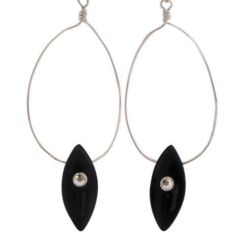 Black Tear Drop Crystal Earrings