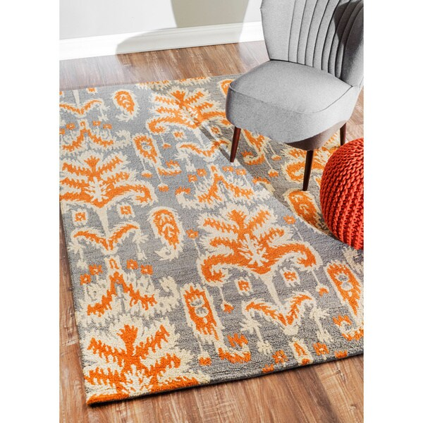 nuLOOM Handmade Modern Ikat Grey Wool Rug (5' x 7'6)