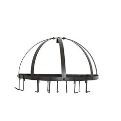 Old Dutch Oiled Bronze Wall Mount Pot Rack with Grid and 12 Hooks - Thumbnail 0