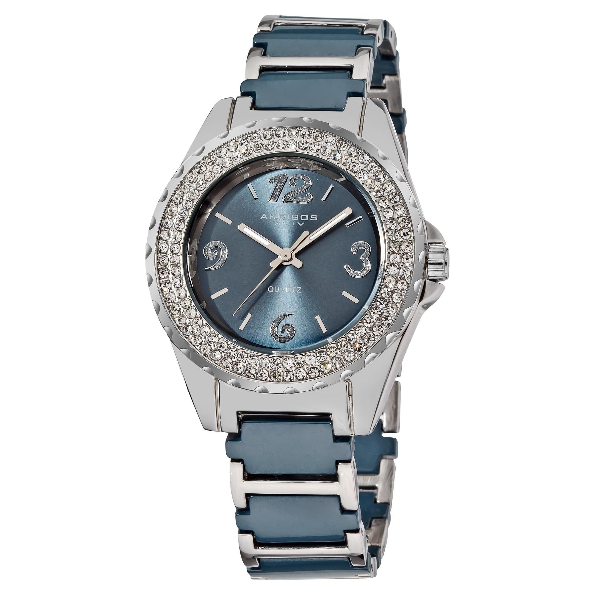 Akribos XXIV Women's Quartz Crystal Ceramic Stainless Steel Bracelet Watch