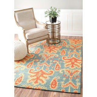nuLOOM Handmade Modern Ikat Teal Wool Rug (7'6 x 9'6)