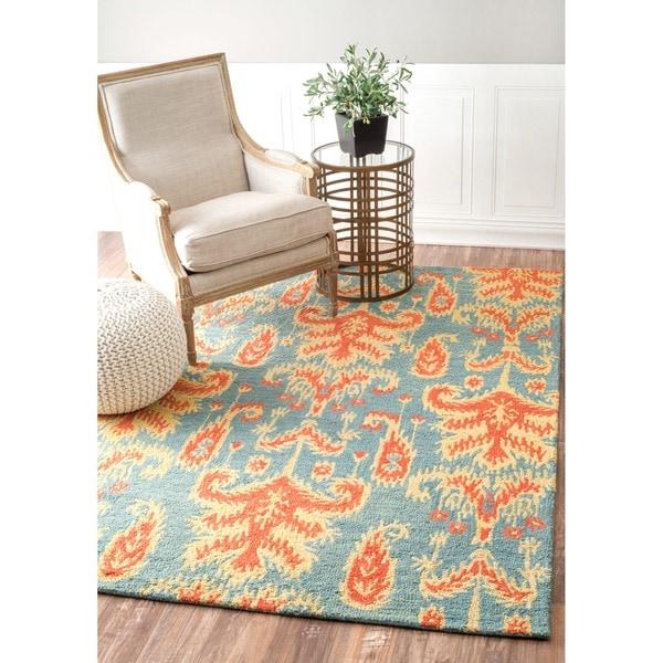 Shop NuLOOM Handmade Modern Ikat Teal Wool Rug (7'6 X 9'6