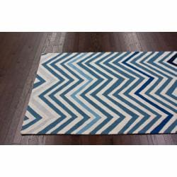 Handmade Alexa Chevron Ivory Wool Rug 7 6 X 9 6 Free