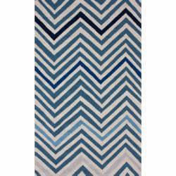 Handmade Alexa Chevron Ivory Wool Rug (7'6 x 9'6)