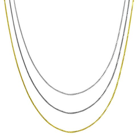 """High-polish Sterling Silver, Rhodium, or Yellow Gold Plated 0.8 mm Venetian Box Chain (16""""-24"""")"""