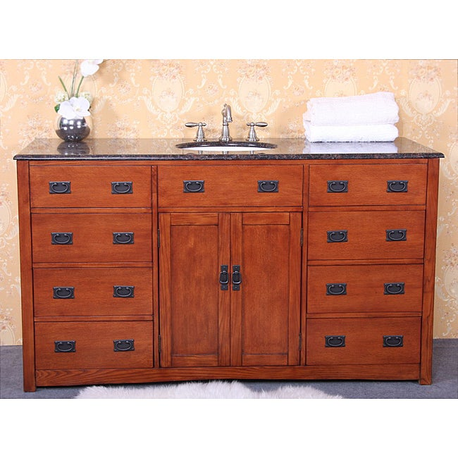 Granite Top 60 Inch Single Sink Bathroom Vanity Free Shipping Today 14283163