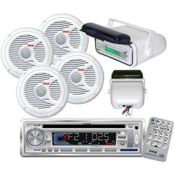 Pyle In-Dash Marine CD/MP3/USB/SD Player with Stereo Housing and 4 x 6.5'' Speakers