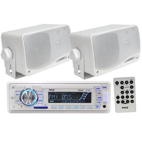 Pyle KTMRGS30 Marine AM FM USB SD iPod AUX Receiver Stereo 2 200W White Speakers