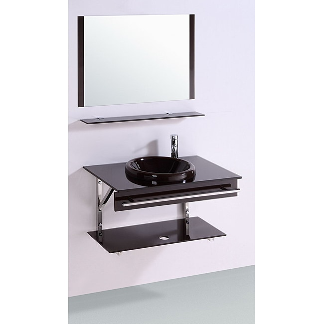 Tempered GlassTop 32-inch Single Sink Bathroom Vanity with mirror