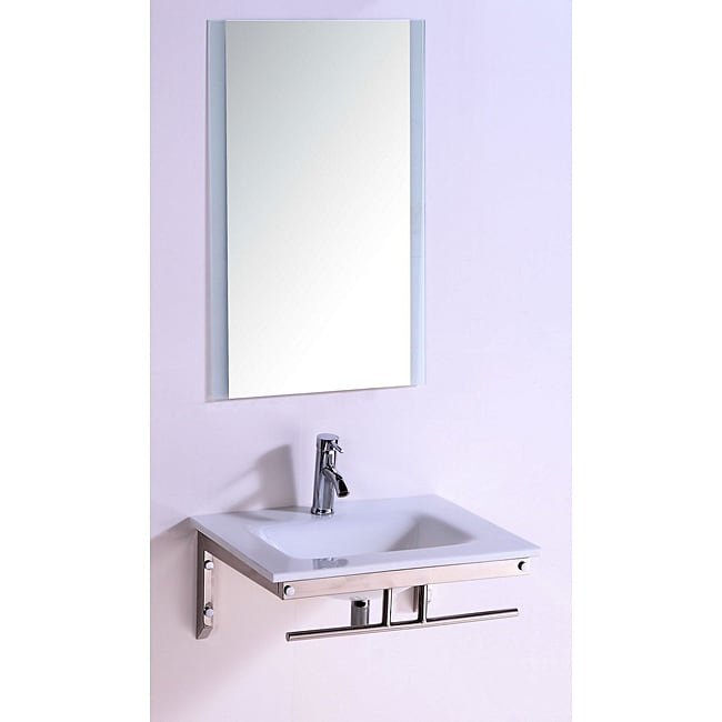Stone Top 24-inch Single Sink Bathroom Vanity with Mirror ...