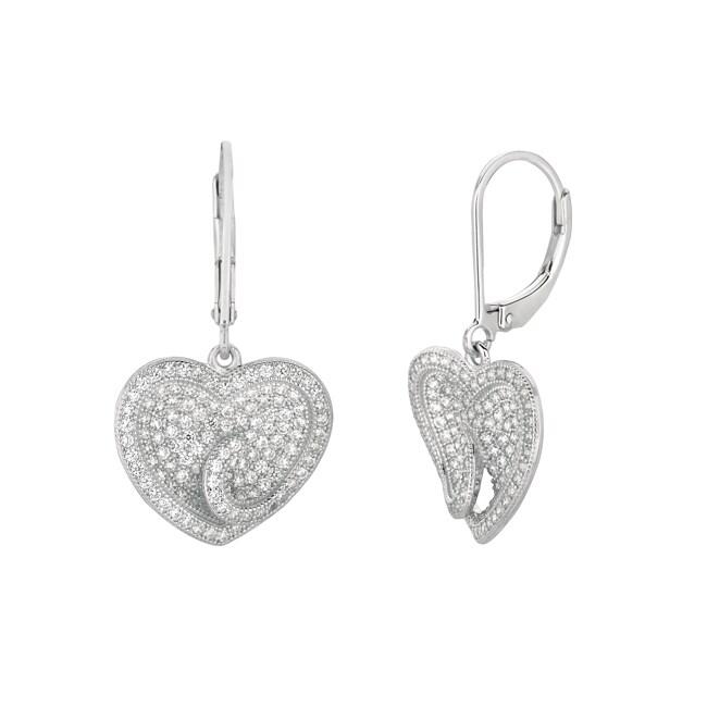 Sterling Silver Clear Cubic Zirconia Heart Dangle Earrings