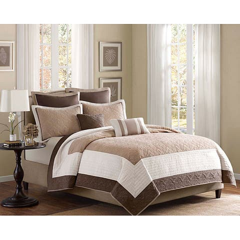 Madison Park Danville Beige 7 Piece Reversible Coverlet Set