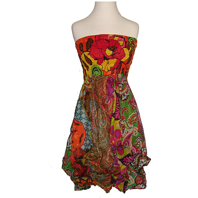 Women's Colorful Cotton Elastic Top Sleeveless Bubble-hem Dress (Nepal)