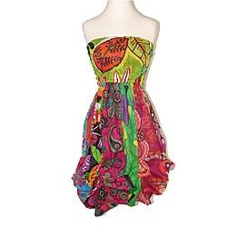 Women's Multicolored Cotton Elastic Top Sleeveless Bubble-hem Dress (Nepal)