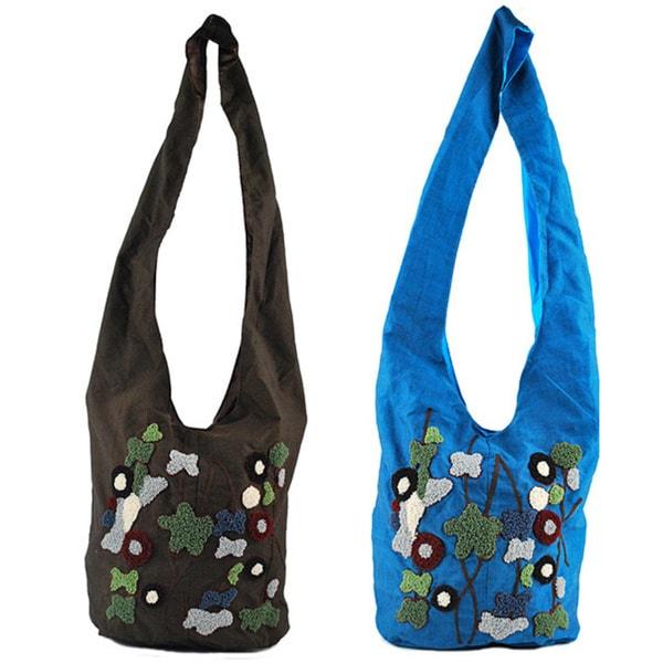 Emb Floral Shoulder Crossbody Bag (Indonesia)
