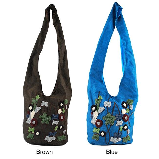 Handmade Boho Chic Blue Flower Power Shoulder Bag (Indonesia)