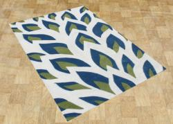 Handmade Flame Inspiration Twilight Blue Wool Rug (8' x 10')