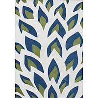 Handmade Flame Inspiration Twilight Blue Wool Rug - 5' x 8'