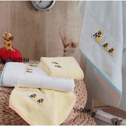 Lucia Minelli Kid's Yellow/White Embroidered Duck Turkish Cotton 4-pieceTowel Set - Thumbnail 0