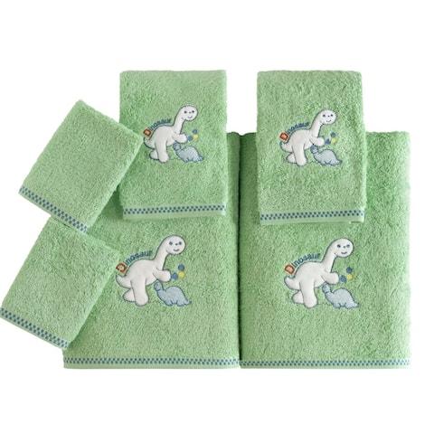 Lucia Minelli Kid's Dinosaur/Butterfly Embroidered Turkish Cotton Bath Towel Set of 6
