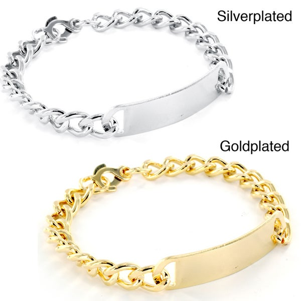 West Coast Jewelry Goldplated or Silverplated Men's Medium ID Bracelet