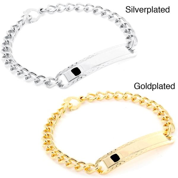 West Coast Jewelry Goldplated or Silverplated Men's Small Hatched ID Bracelet