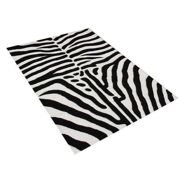 Alliyah Handmade Black New Zealand Blend Wool Area Rug (8' x 10') - 8' x 10'