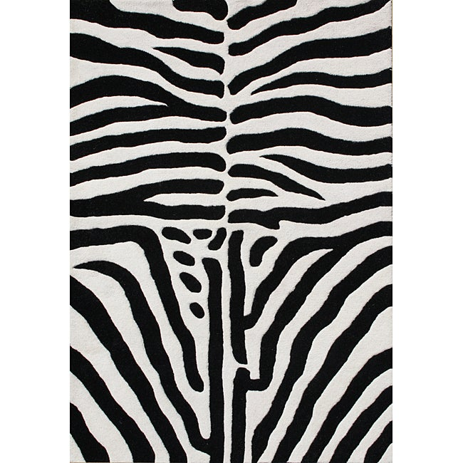 Alliyah Handmade Black New Zealand Blend Wool Area Rug - 8' x 10'