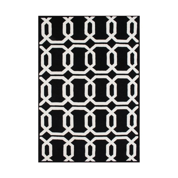 Alliyah Rugs Handmade Tufted Black/ White Geometric Pattern New Zealand Blend Wool Rug (8' x 10')